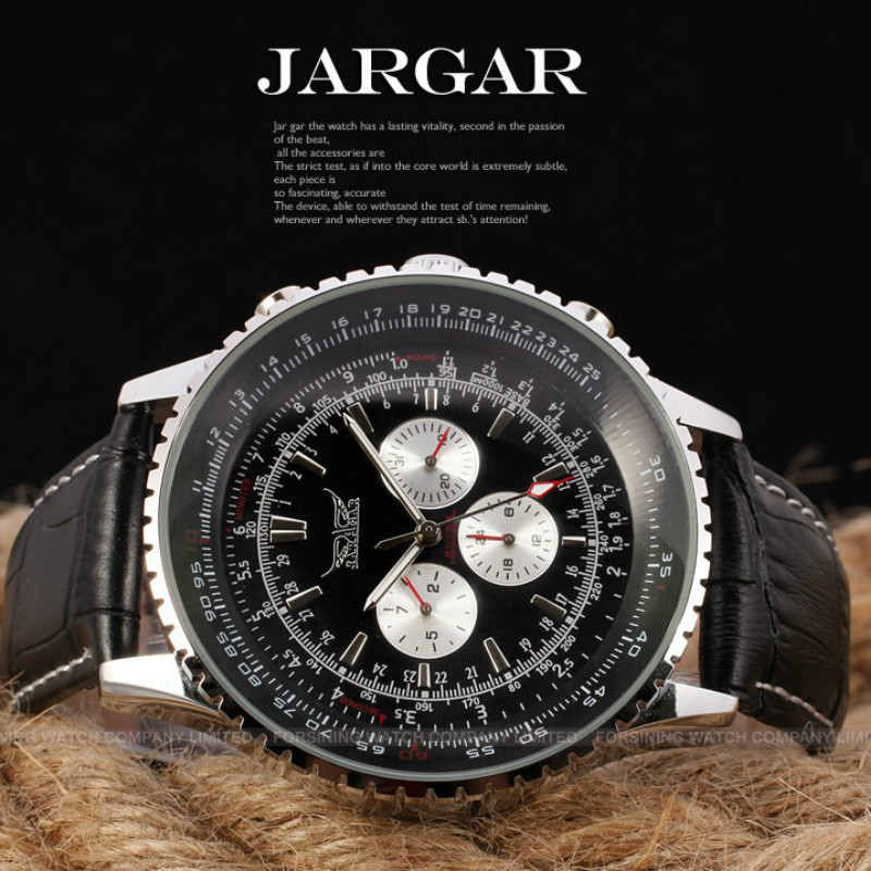 Jargar New Men Automatic Dress Watch Silver Color Case Wristwatch with Black Leather Band jargar automatic fashion dress watch silver color with black leather band free shipping jag6458m3s2