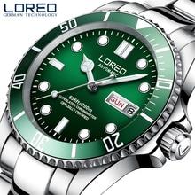 LOREO Mens Classic Diving Series Mechanical Watches 200m Waterproof Steel Stainless Brand Luxury Watch Men Relogio Masculino