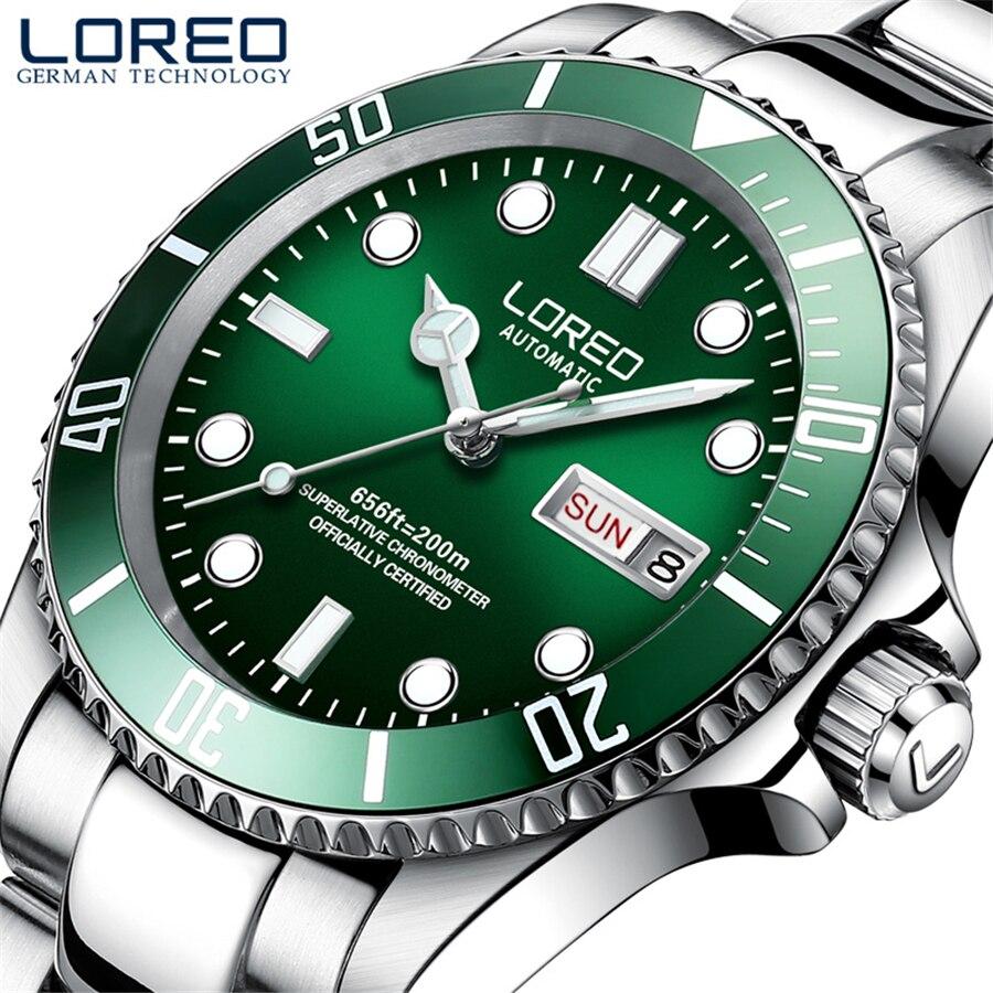 LOREO Men's Classic Diving Series Mechanical Watches 50m Waterproof Steel Stainless Brand Luxury Watch Men Relogio Masculino