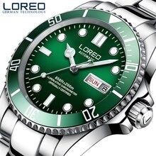 Loreo 남자 클래식 다이빙 시리즈 기계식 시계 200m 방수 스틸 스테인레스 브랜드 럭셔리 시계 남자 relogio masculino