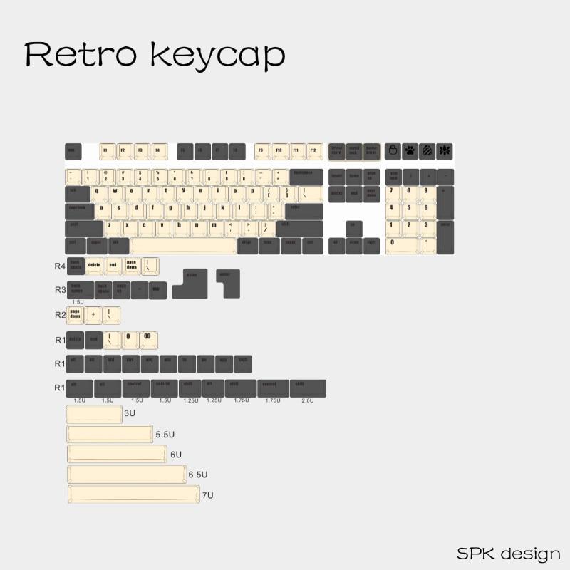 Retro Keycap Full Kits Dye Sub Novelties Pbt Keycap Mechanical Keyboard Pbt Cherry Profile