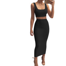 Doyerl Bodycon Skirts Set Women 2 Piece Outfits Sexy Tank Crop Top Vest and Bandage Long Skirts Two Piece Set Crop Tops Outfits 2019 two piece set women crop top sexy off shoulder slim bodycon nigthclub pencil dress women long sleeve 2 piece outfits