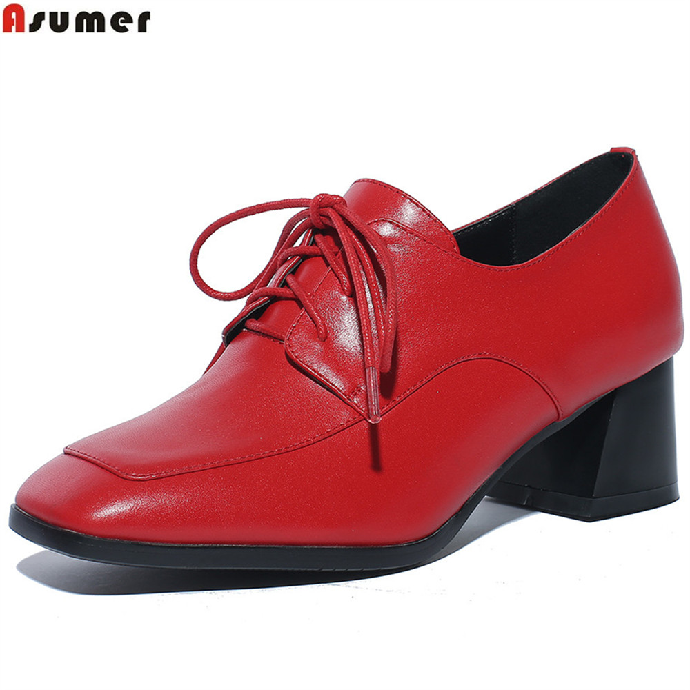 ASUMER black red fashion spring autumn women pumps square toe lace up square heel genuine leather shoes leisure med heels shoes asumer black white fashion spring autumn ladies single shoes pointed toe square heel women genuine leather med heels shoes