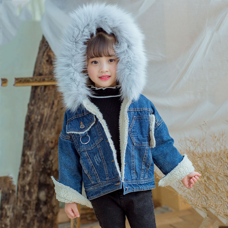 Fashion Girl's Winter Coat Hooded Jacket Thick Warm Cowboy Coats Fur Collar Children's Casual Jacket Floral Velvet Outwear JF260 new winter jacket men thick velvet warm coat thermal warm windproof hood jackets mens outwear parka homme jaqueta casual coats