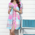 32206 100% women's cotton rayon woven short-sleeve V-neck nightgown 100% cotton thin summer sleepwear lounge