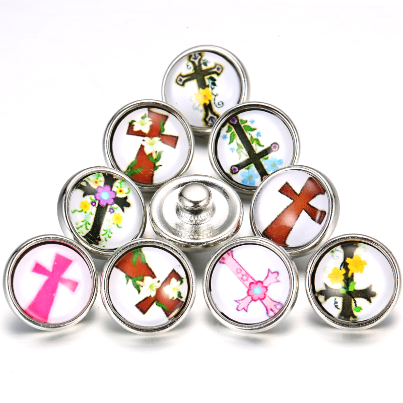 10pcs/lot New Cross 12mm Snap Jewelry Mixed Style Round Glass Snap For 12mm buttons Bracelet image