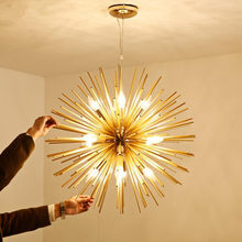 Nordic Living Room Bedroom Restaurant Golden Round Ball Chandelier lighting Art Dandelion E14 LED Home Deco Hanging Lamp Fixture(China)