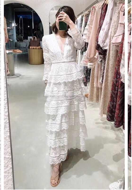 Top Quality Dress New 2018 Autumn Fashion Party Wedding Women Sexy V-Neck Hollow Out Embroidery Cascading Ruffle Long Dress Maxi 5