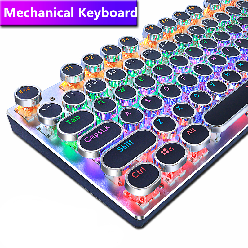 METOO ZERO Round Keycap Gaming Mechanical Keyboard Blue Black Red Switch Anti Ghosting USB Wired LED