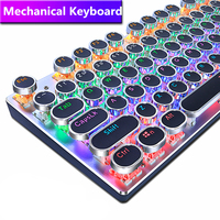 METOO ZERO Round Keycap Gaming Mechanical Keyboard Blue Black Red Switch Anti Ghosting USB Wired LED Backlight Keyboard for PC