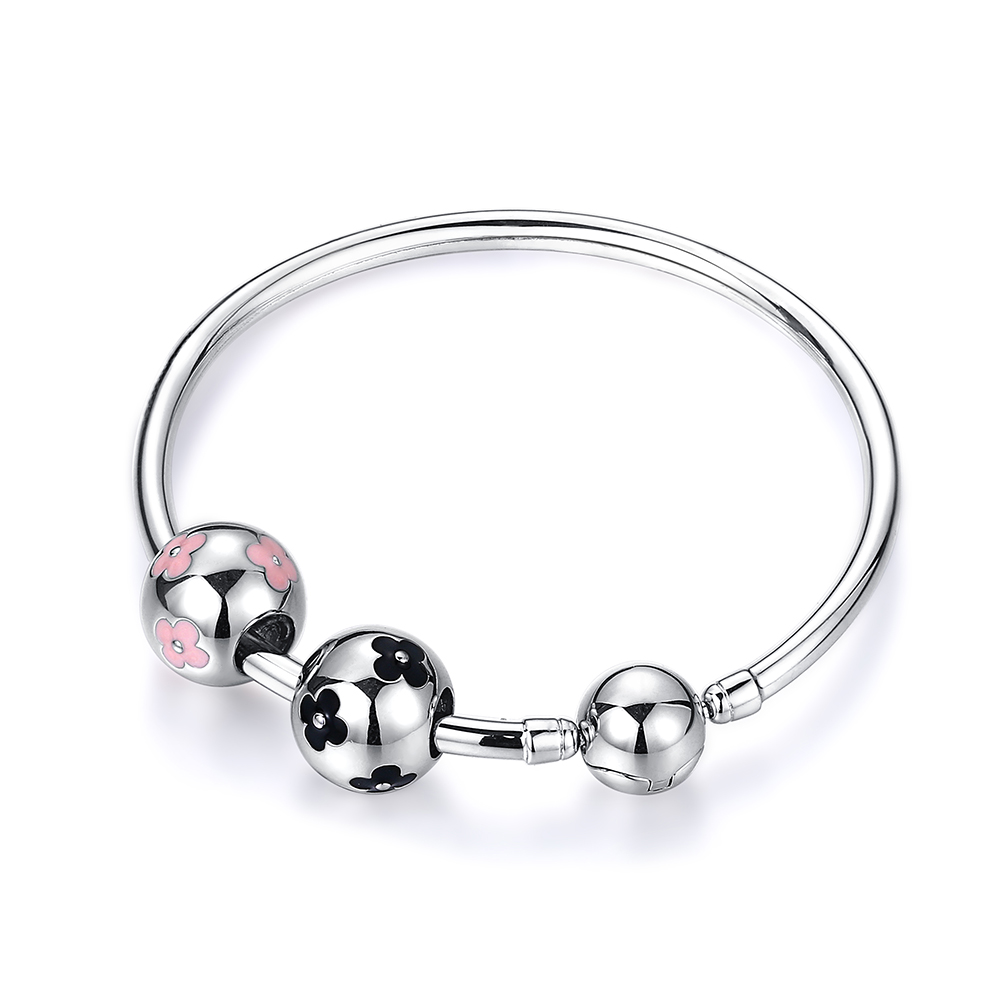 100% 925 Sterling Silver Bracelets Bangles DIY Pan Bracelet Jewelry Black Pink Plum Flower Football Bead Charm Bangles For Women100% 925 Sterling Silver Bracelets Bangles DIY Pan Bracelet Jewelry Black Pink Plum Flower Football Bead Charm Bangles For Women