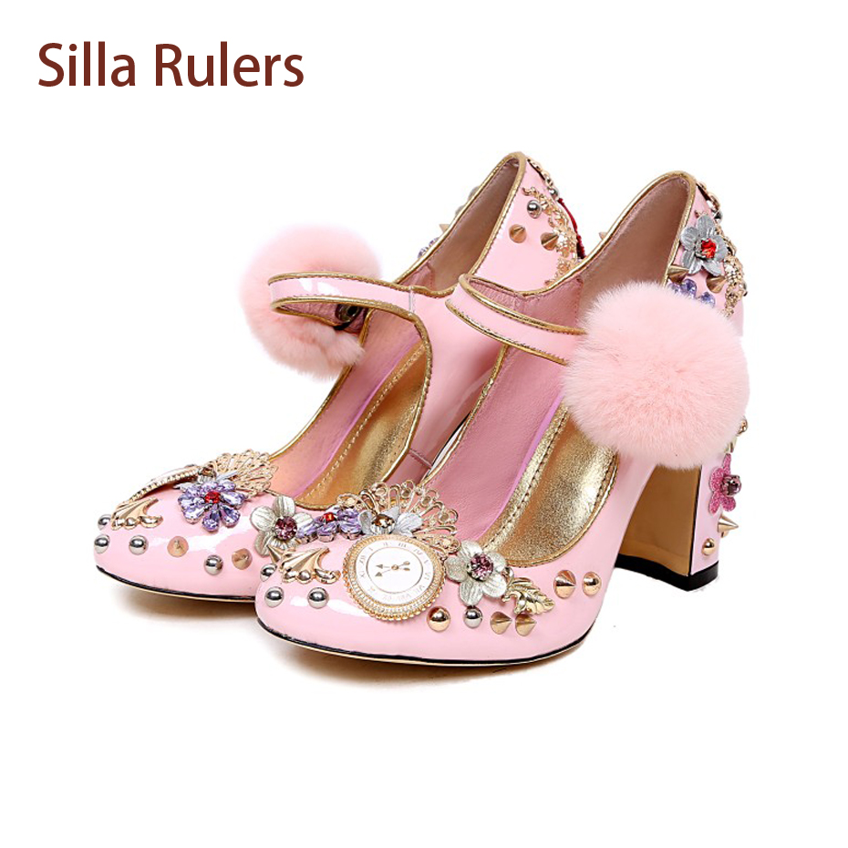 Silla Rulers Luxury Rhinestone Flowers Rivet Studded Pumps Women Wedding Shoes Sweet Pink Leather Fur Pompom Mary Janes Shoes