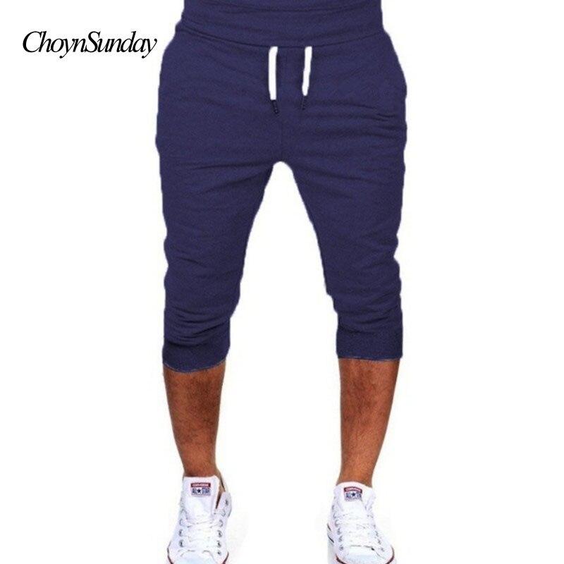 mens shorts casual cotton pure color bermudas hombre short pants summer Joggers Short Sw ...