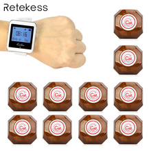 1 Watch Receiver + 10 Call Button Wireless Calling System Restaurant Paging System Calling F4428A