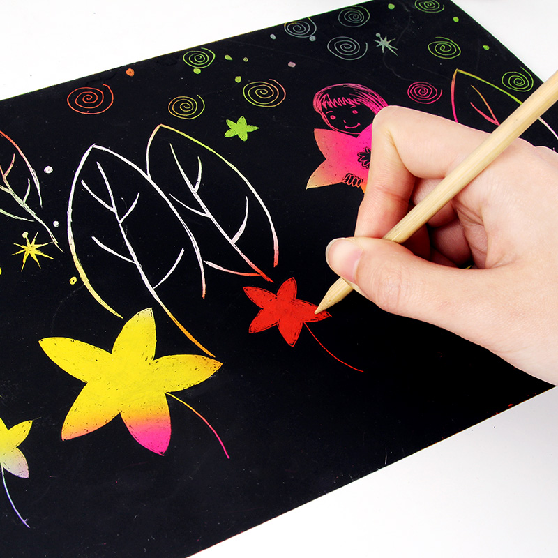 10 Pcs/set New Hot Pupils Children Colorful Creative Hand Painted Coloring Book For Kids Gift A4 Scratch Drawing Paper