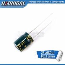 20 piezas, alta calidad, 25V680UF, 10X13, 680UF, 25V, 10x13, condensador electrolítico hjxrhgal