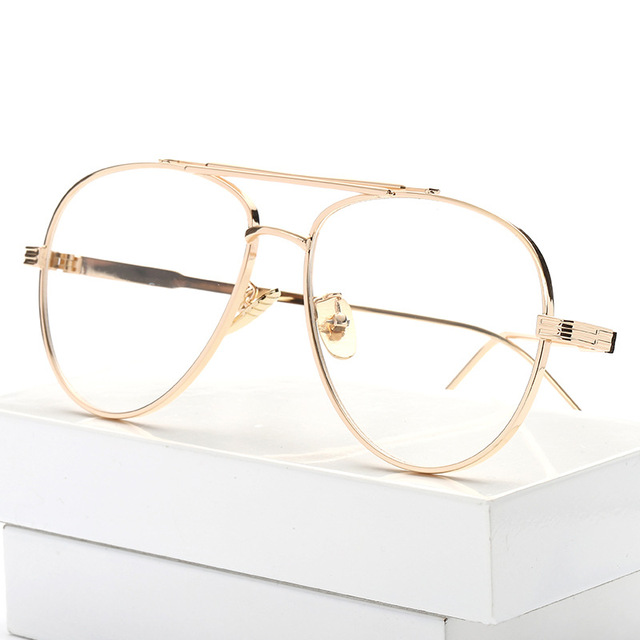 5f196150d6 2017 Fashion Eyeglasses Frame Women Computer Optical Spectacle Male Vintage  Gold Glasses Frames Transparent Clear Lens