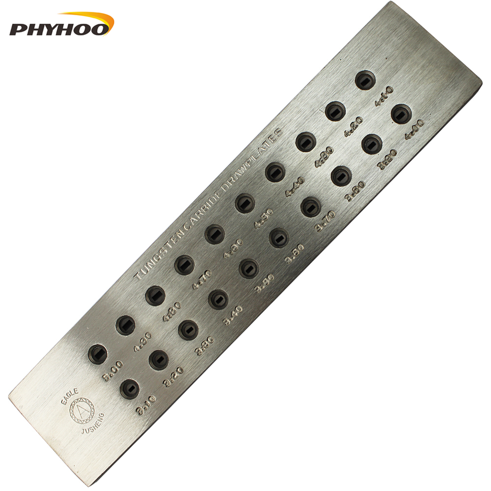 Rectangle Shape Tungsten Carbide Drawplate,Various models,Hole Size:0.55-3.00mm,3.10-5.00mm,hole number 20,Jewelry Making Tools