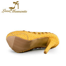 Love Moments gold shoes woman Wedding Shoes Bride crystals yellow pearls ladies gold shoes designer shoes women luxury 2016