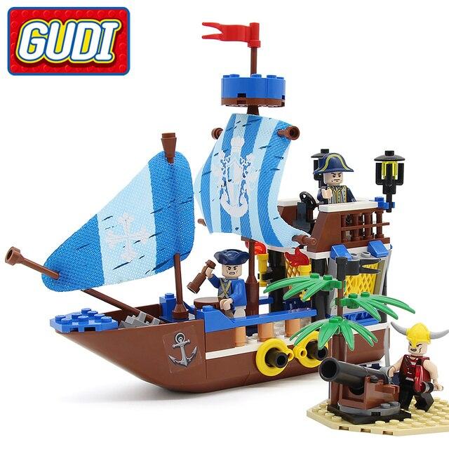 GUDI Fortaleza de Ladrillo 200 unids Bounty Barco Pirata Piratas Bloques de Construcción de Regalos de Navidad Juguetes para los niños
