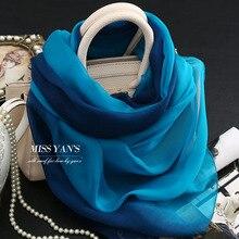 7ad18b5309af Genuino seda bufanda de las mujeres de moda azul clásico gradiente Bufandas  2016 verano Otoño Invierno buena calidad chal collar