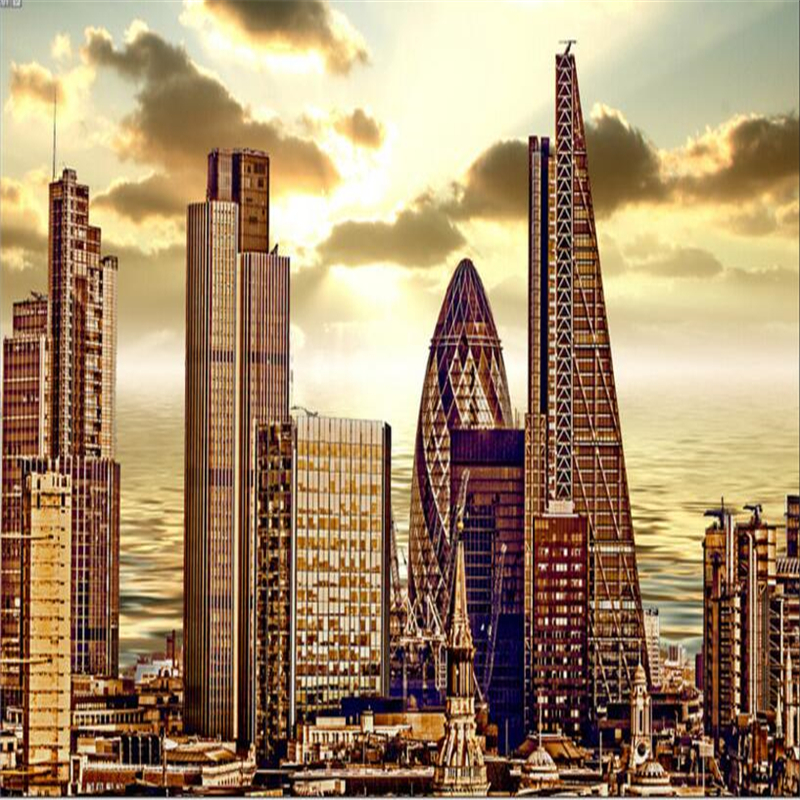 beibehang Custom 3D wallpaper European and American urban skyscrapers architectural background wall murals
