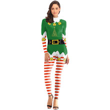 Women Winter Jumpsuit Christmas Santa Claus Costume Cosplay Fashion Sexy  Slim 3D Printed Ball Party Jumpsuits Suit  O10 ac2ae71a52de
