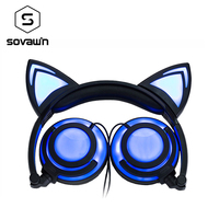 New Version Rechargeable Foldable Flash LED Glowing Cat Ear Headphones Headset Lighting Earphone For PC Computer