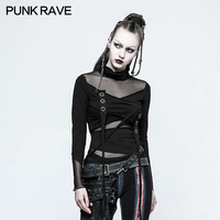 PUNK RAVE Women Punk Rock Mesh Sexy T shirt Gothic Black Korean Fashion Tops Casual Long Sleeve Tops Tee