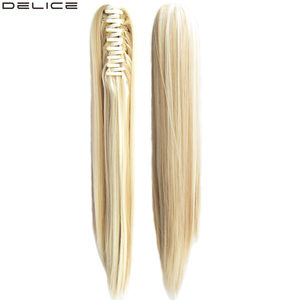 Delice 22inch Long Straight Claw Ponytails Heat Resistant Synthetic Ponytail For Women