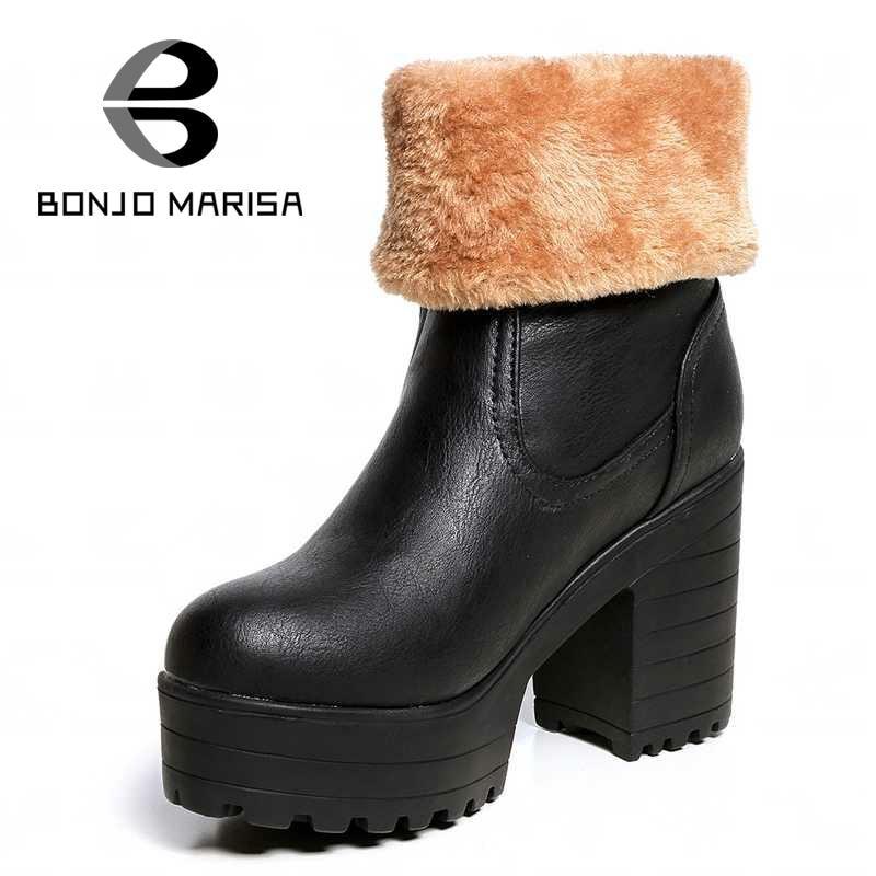 ФОТО BONJOMARISA Plus Size 34-43 Womens Snow Boots Keep Warm Fur Shoes Woman Rubber Sole High Heels Platform Med-calf Winter Boots