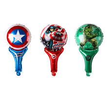 Marvel super hero Captain America Superman hero birthday party children's toys balloon, hands Beater Stick foil balloon(China)