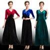 Winter Women Plus Size Velvet Dress 3 4 Sleeve Maxi Dress Evening Party Vintage Dress Black