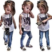 Toddler Girl Clothing Cat Print T Shirt Denim Pants Set Kids Clothing Summer Style Girls Boutique