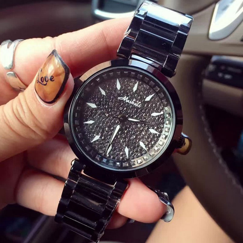 купить High Quality Stainless Steel Bracelet Strap Lady Rose Gold Bling Crystal Quartz Clock Women Dress Wrist Watches reloj mujer дешево