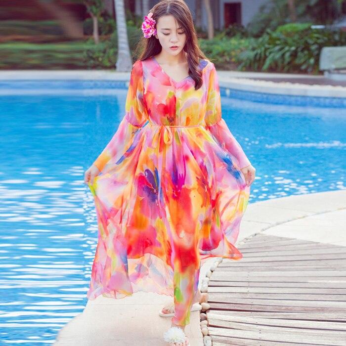 2017 été décontracté femmes en mousseline De soie fleur imprimer Maxi robe plage fête soirée bal longues robes femmes Vestido De Festa grande taille
