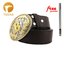 """Western Flower With Letter """"E"""" Metal Belt Buckle With Silver And Golden Finish for 4cm Width Snap on Belt"""