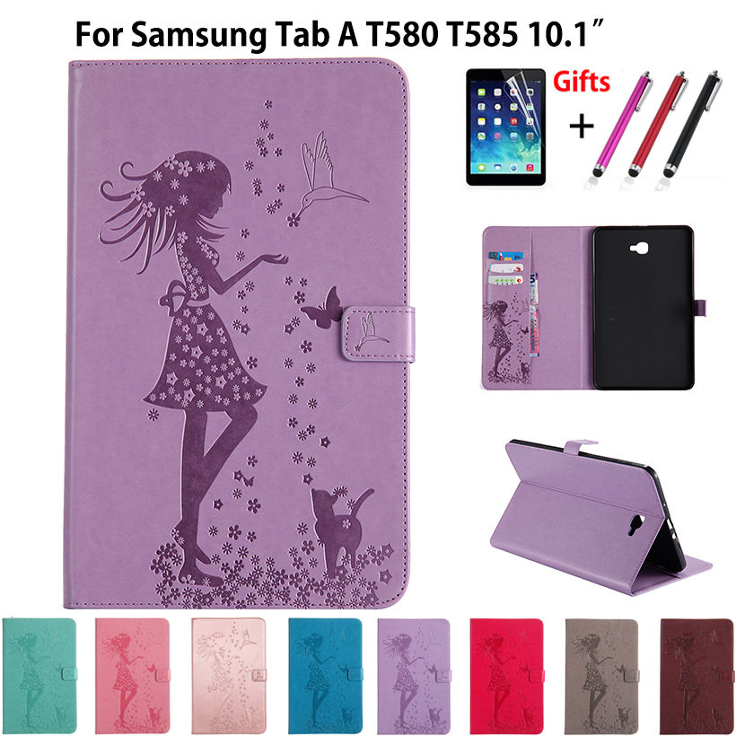 T580 Case Girl Cat Embossed Case For Samsung Galaxy Tab A6 10.1 2016 T580 T585 SM-T585 T580N Funda Tablet Cover Leather+film+pen купить недорого в Москве