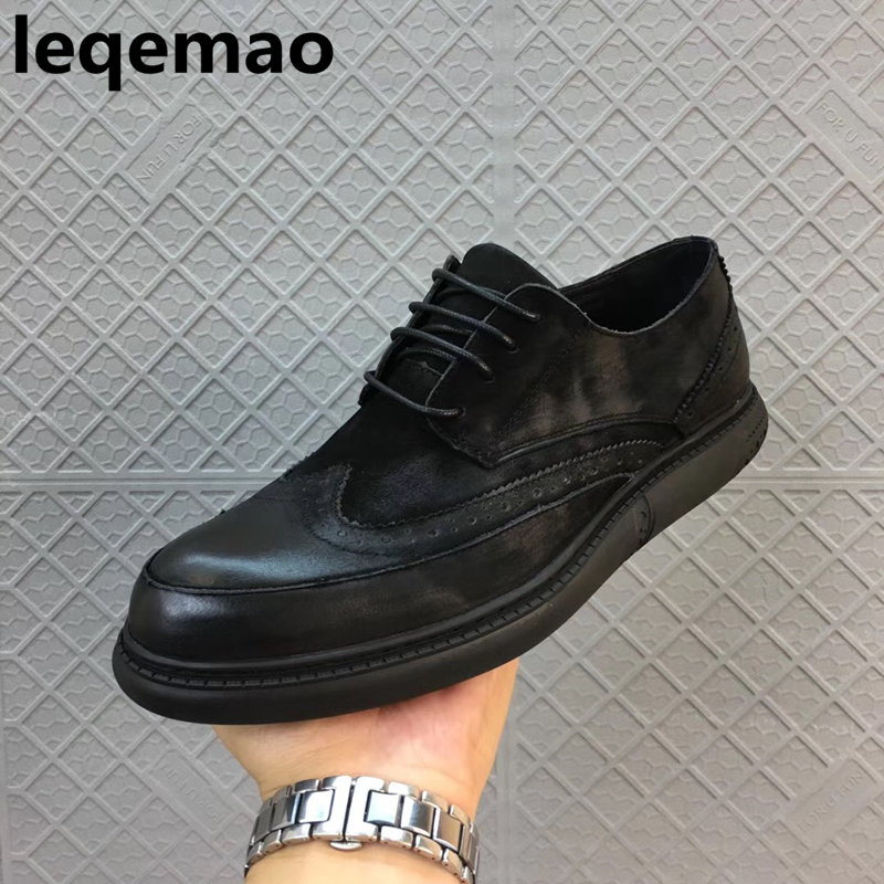 Hot Sale New Arrival Spring Autumn Leqemao Brand Men Casual Shoes Oxford Genuine Leather High Quality Lace-up Man Shoes 38-44 mens casual leather shoes hot sale spring autumn men fashion slip on genuine leather shoes man low top light flats sapatos hot