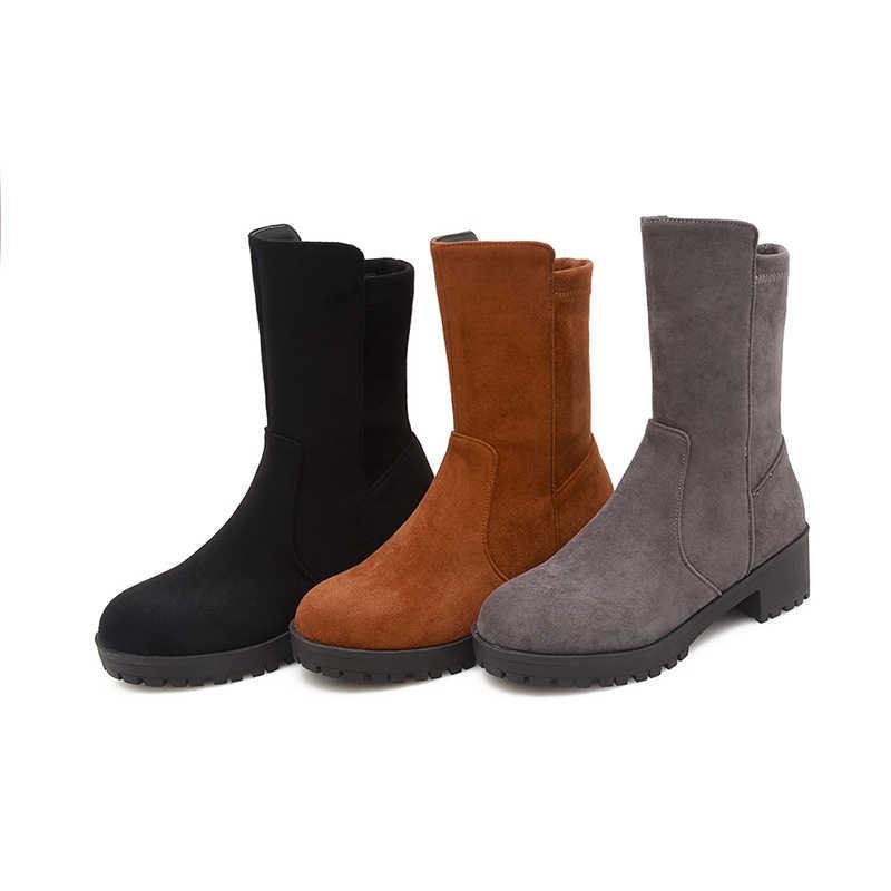 WETKISS Büyük Boy Yüksek Topuklu Kadın Çizmeler Yuvarlak Ayak Platformu Akın Ayakkabı Streç Likra yarım çizmeler Sonbahar Moda Bayan Ayakkabıları