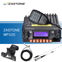 ZASTONE MP320 Coche Walkie Talkie 20 W Tercera Banda VHF UHF de Radio Móvil Del Coche Comunicación MP320 + RB-66 Clip + SG-M507 Antena + 5 M Cable