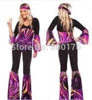 Free shipping zy535 New Ladies 80s Retro Hippie Go Go Girl Disco Costume Fancy Dress Hen Xmas Party