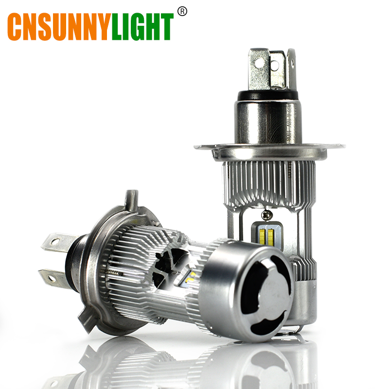 CNSUNNYLIGHT Super Bright LED Motorcycle H4 HS1 P43T Headlight Bulb Dual Bi-Beam White 5200Lm/Lamp Motor Bike Lights Accessories