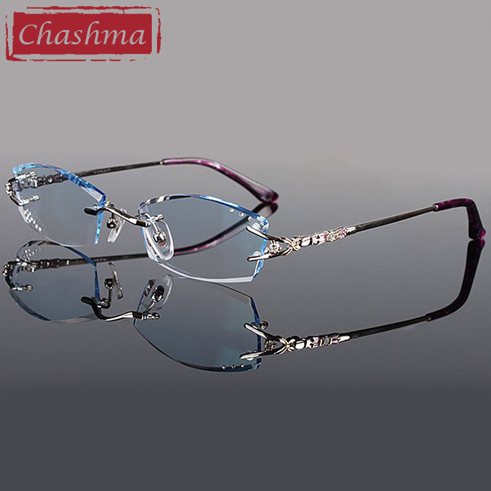 Chashma Brand Eyeglasses Diamond Trimmed Rimless Glasses Titanium Fashionable Lady Eyeglasses Spectacle Frames Women