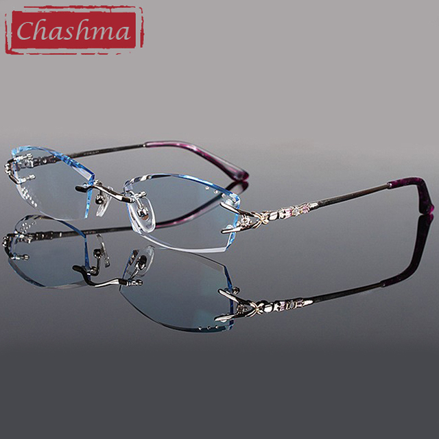 3eba046296 Chashma Brand Eyeglasses Diamond Trimmed Rimless Glasses Titanium  Fashionable Lady Eyeglasses Spectacle Frames Women