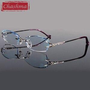 Image 1 - Брендовые очки Chashma, очки без оправы с алмазной отделкой, титановые модные женские очки