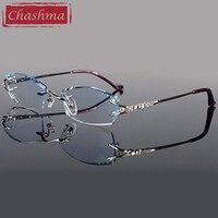 2016 Pure Titanium Fashionable Lady Eyeglasses Rimless Spectacle Frames Women
