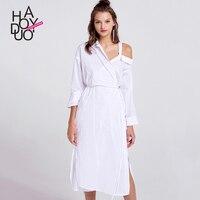 Autumn European And American Fashion Ladies Dresses Asymmetric Dew Shoulder Lace Harajuku Dress Womens Cheap Clothes