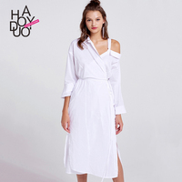 Haoduoyi2017 Autumn New Dress European And American Fashion Asymmetric Dew Shoulder High Waist Lace Dress