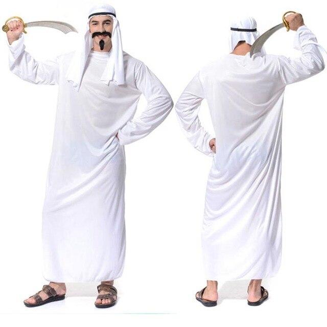 2018 Men White Dubai Prince Arab King Cosplay Costume Adults ...